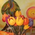 plstěné tulipány z ovčí